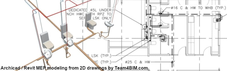 Archicad Revit MEP modeling from 2D drawings